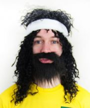 Socrates Brazil 70/80's Football Fancy Dress Wig, Beard & Sweatband